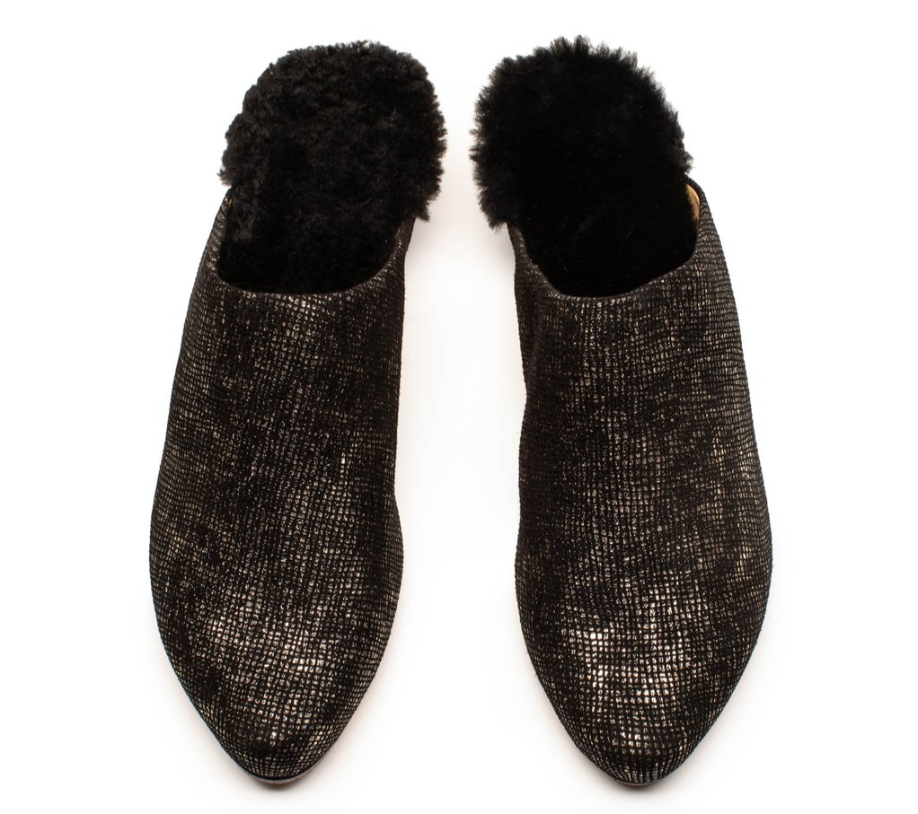 Slip on luxury fur-lined Mule shoe for women by footwear designer Tracey Neuls