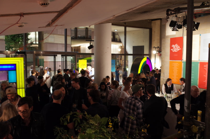 crowd at art event