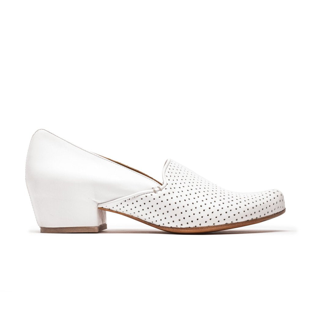 Ray, a white leather slip on loafer by designer Tracey Neuls
