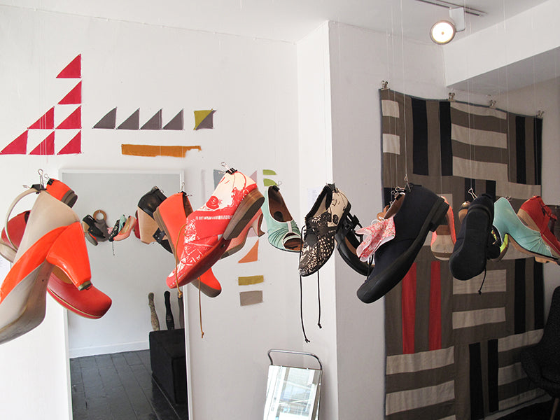 Tracey Neuls First Shoe Shop to Hang Shoes from the ceiling as a display