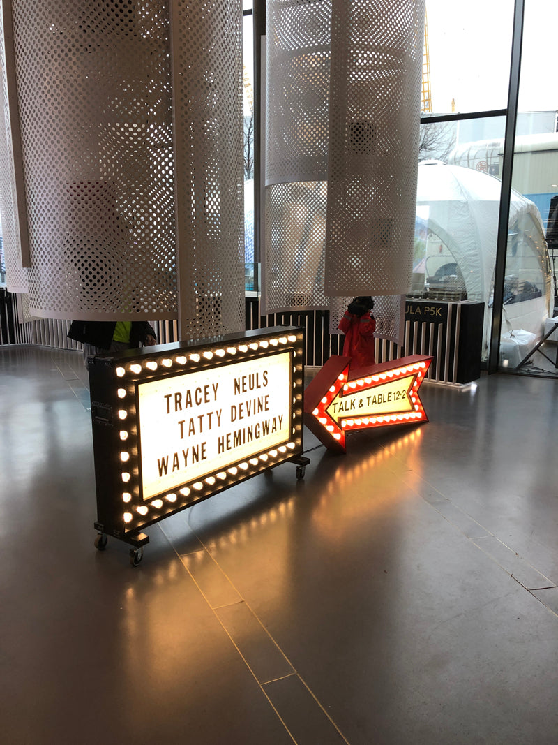 Sign for the sample festive table talk featuring designers Tracey Neuls, Tatty Devine, Wayne Hemingway