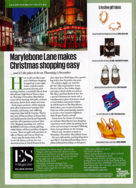 Marylebone Lane late night shopping event with luxury footwear designer Tracey Neuls