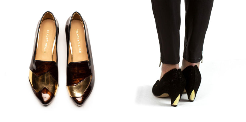 A pair of patent brown loafers, and black high heels with gold detail