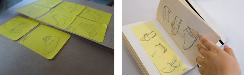 Sketches of shoes on sticky notes and a sketch book of shoes