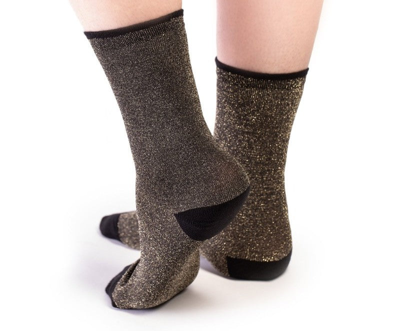 Gold and black sparkly ankle socks for women by designer Tracey Neuls