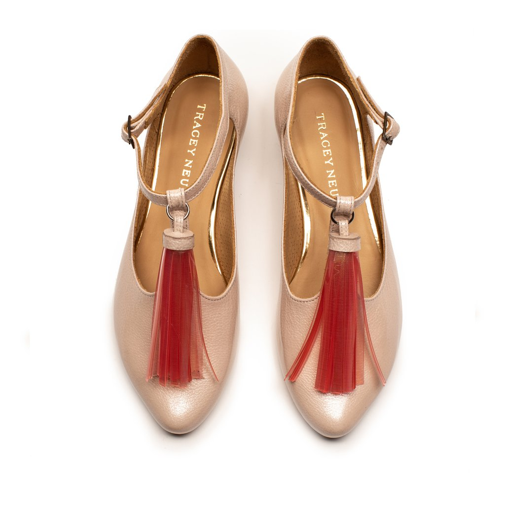 Tassel Spritz, an all leather womens flat shoe by footwear designer Tracey Neuls