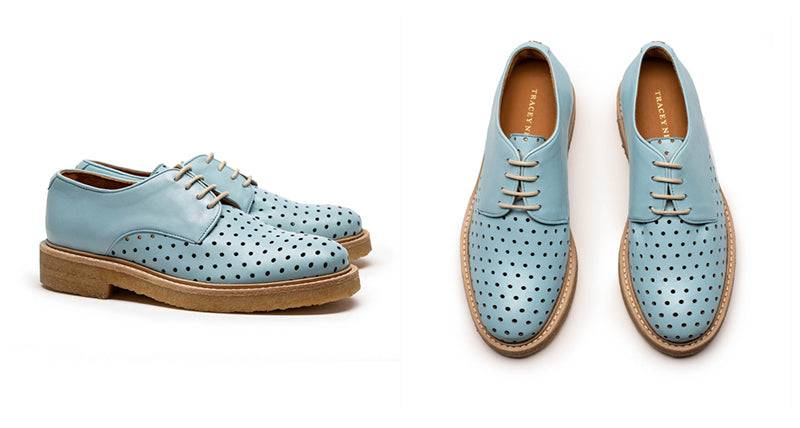 Baby blue leather shoes for women