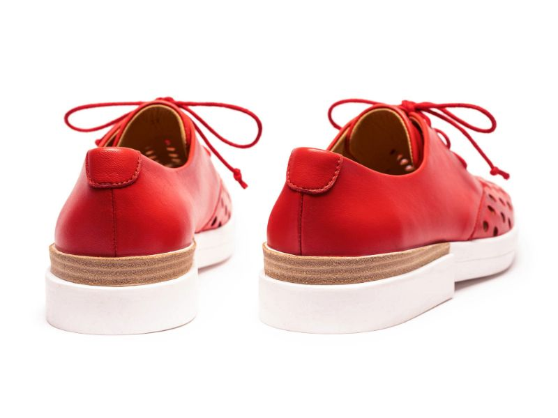 Red shoes, women's flat lace up designer shoes by Tracey Neuls with graphic perforated design