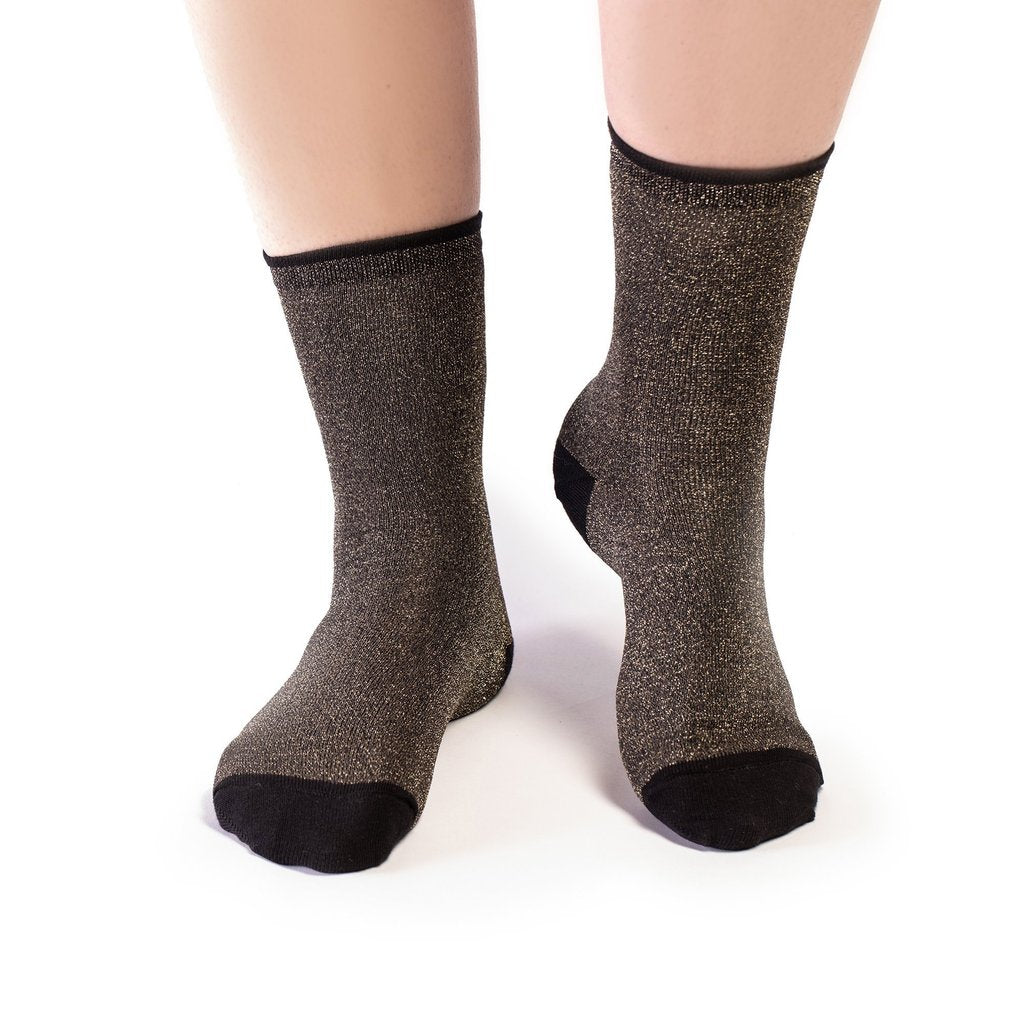 Socks in black glitter by contemporary footwear and accessories designer Tracey Neuls