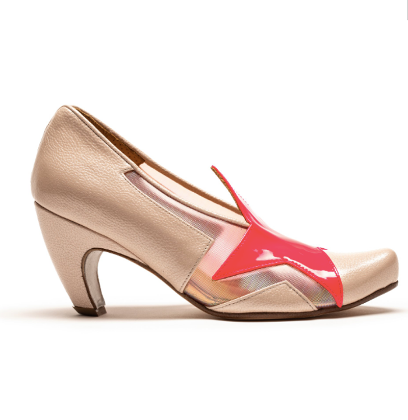 Designer High Heel in nude with Neon pink star feature by Tracey Neuls, inspired by icon David Bowie
