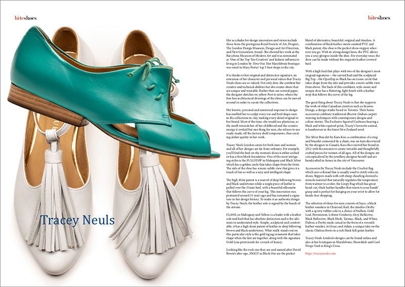 Luxury London footwear designer Tracey Neuls is featured in fashion magazine Bite.