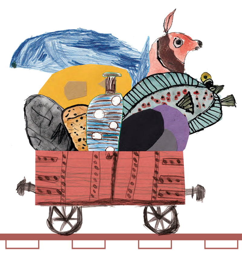 Children's illustration of a cart full of coal and livestock, illustrating a book about London's Coal Drop Yard