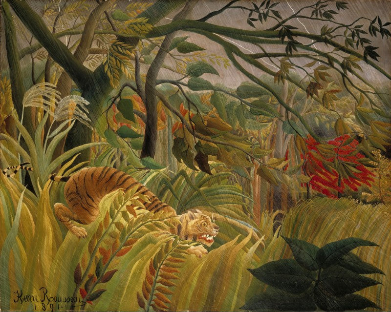Henri Rousseau painting, 'Tiger in a tropical storm, or Surprised'