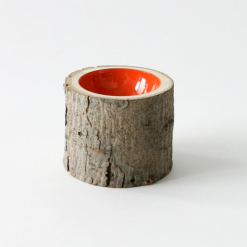 Log bowl with glazed ceramic interior
