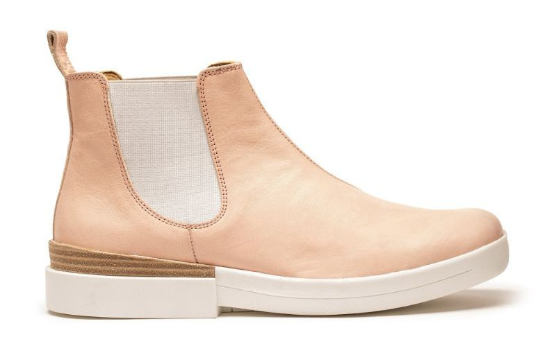 Peach pink leather chelsea boot for women, with white rubber sole and elastic, by designer Tracey Neuls
