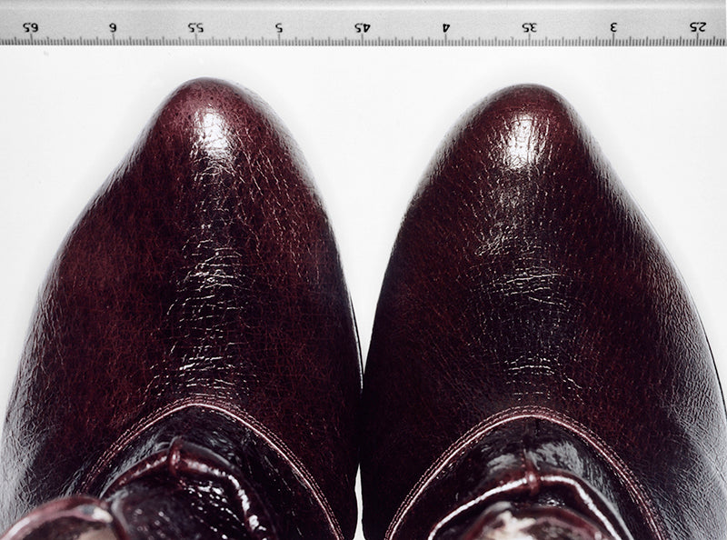 Ethical luxury leather tips of hand crafted designer shoes by Tracey Neuls