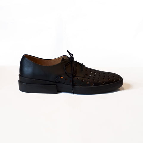 POWELL Black | Large Holes Perforated Leather Flat Shoe