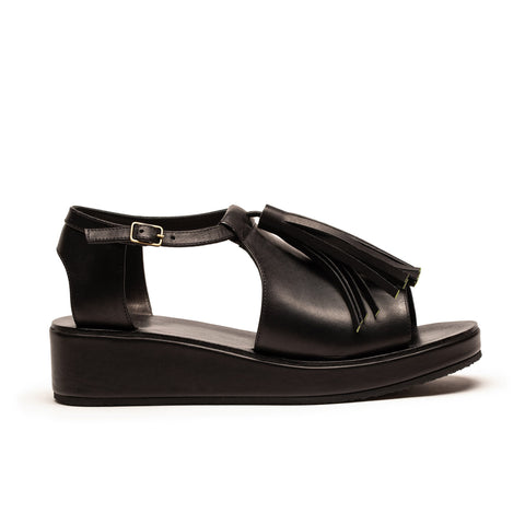 ALOHA Black Leather Tassel Platform Wedge Sandals | Tracey Neuls