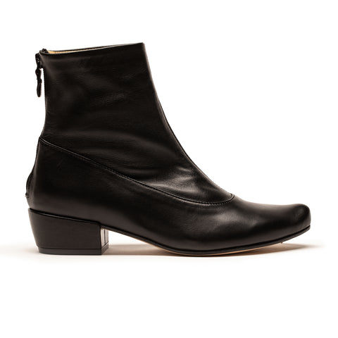 ARLINDA_Black Leather_Mid Heel Ankle Boot