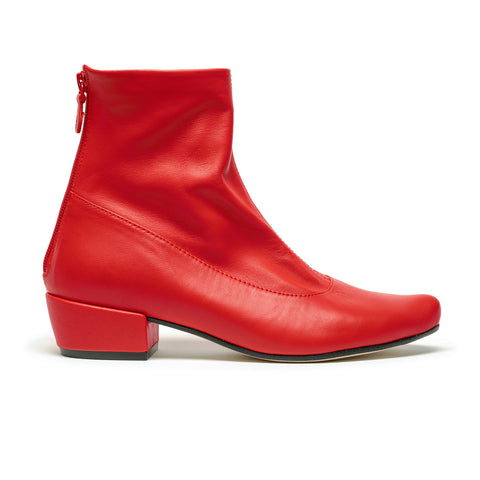 ARLINDA_Red Leather_Mid Heel Ankle Boot