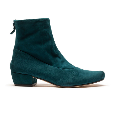 ARLINDA Teal Leather Mid Heel Ankle Boot by Tracey Neuls