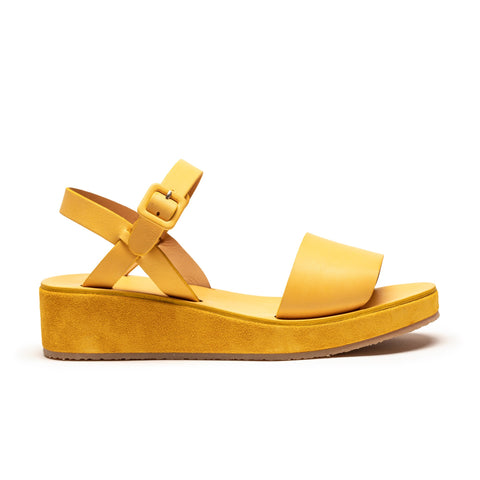 BARBARA Dijon Yellow Leather Strap Platform Sandals | Tracey Neuls