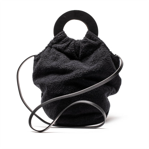 BIG SISTER Black Towel Circle Hand Bag | Tracey Neuls