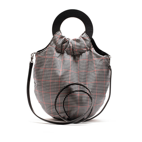 BIG SISTER Reversible | Black/Red check and Black Leather Handbag | Tracey Neuls