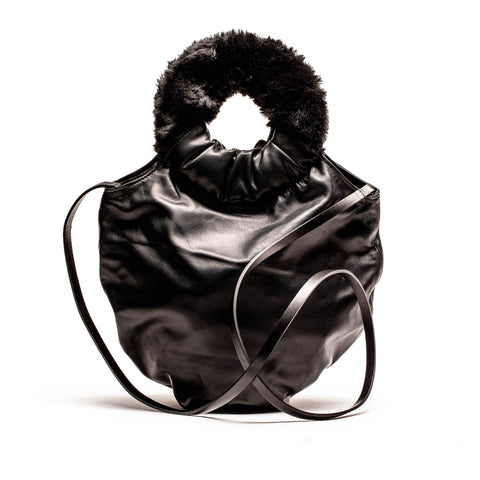 LOOPY Furry Handles Black Leather Handbag | Tracey Neuls