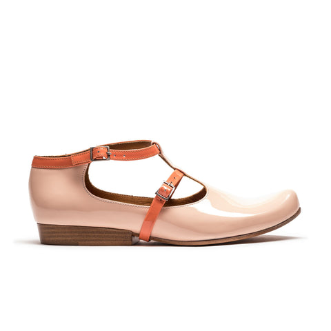 Pink and orange patent leather women's summer shoe
