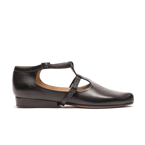 Copper Black Leather Tracey Neuls Flat Shoe