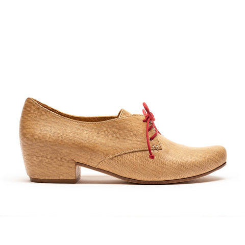 women's leather mid heel beige bamboo by designer tracey neuls