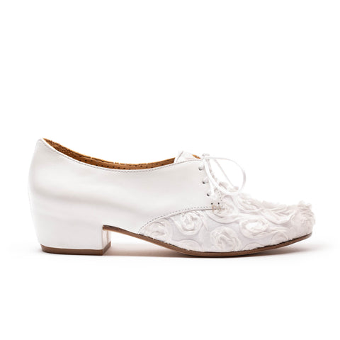 CUSCUS Petal | White Floral Leather Shoe