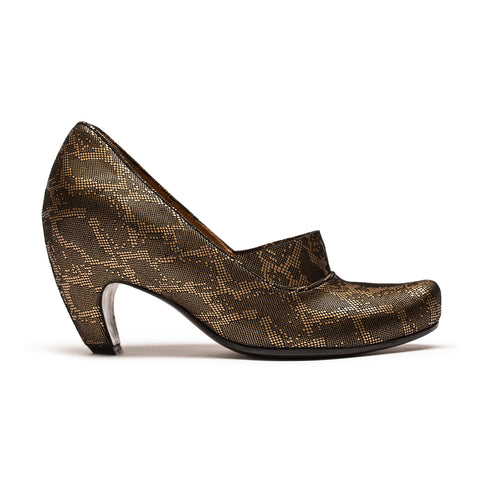 COLEEN GLAM_Gold Leather High Heel Pump