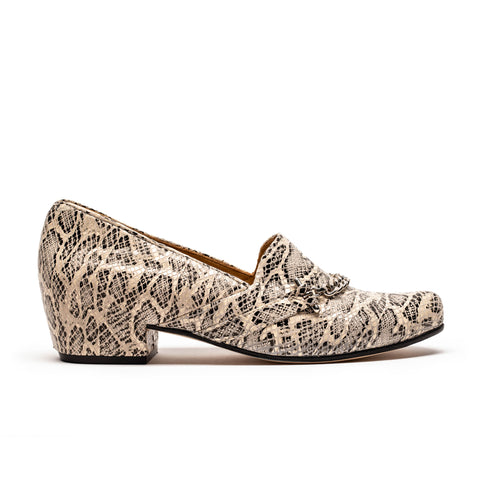 faux alligator print leather mid heel loafers by designer tracey neuls
