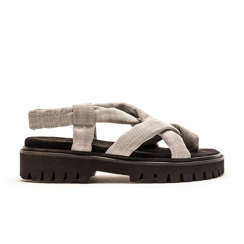 ESCHER Crosshatch | Printed Leather Thong Sandal