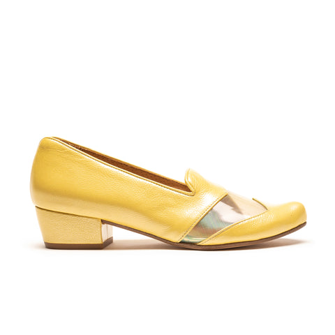 FLASH Limoncello | Yellow Patent Mid Heel Loafer | Tracey Neuls