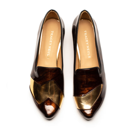 Flash Mahogany Tortoise Gold Patent Luxury Leather Mid Heel Loafer