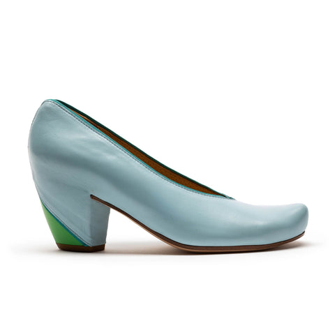 women's light blue and turquoise high heel by designer tracey neuls