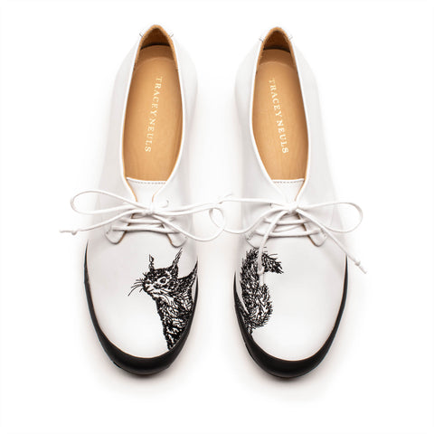 GEEK White Leather Squirrel Embroidery Sneaker | Tracey Neuls