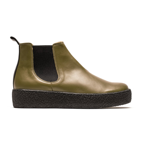 GEORGE Platform | Olive Smooth Leather Chelsea I Tracey Neuls