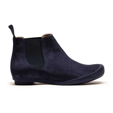 George Navy Suede Chelsea Boot Leather Lined Flat