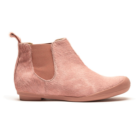 George Pink Pony Cow Hide Suede Chelsea Boot Leather Lined Flat