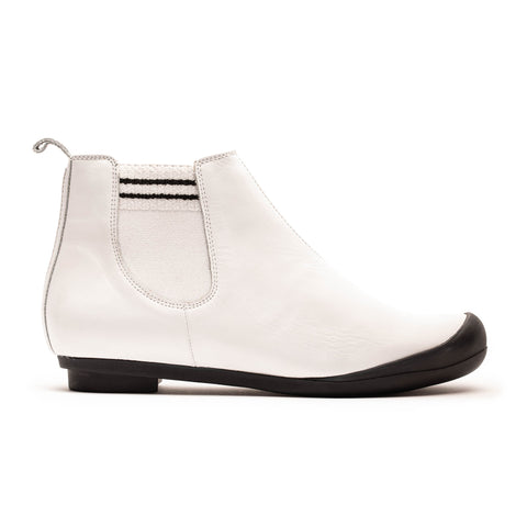 White leather chelsea boot with tube sock detailing designed by Tracey Neuls