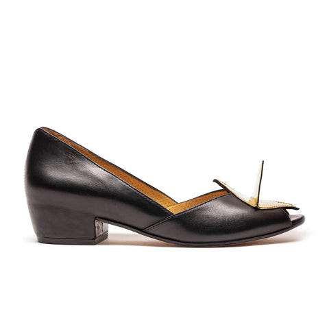 GORD Black And Gold Leather Mid Heel by Tracey Neuls