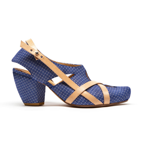 blue patterned high heels with vegetable dyed straps designed by Tracey Neuls