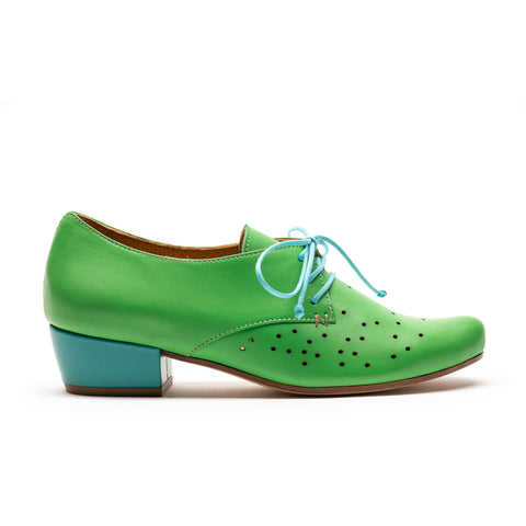 women's green and turquoise mid heel with perforated front by designer tracey neuls