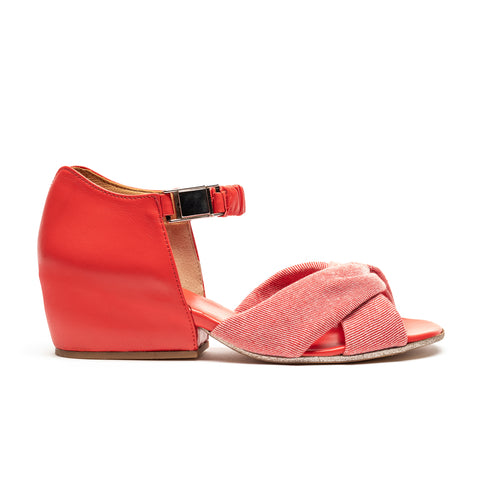 JACKIE Postbox | Red Leather sandal with a block heel designed by Tracey Neuls