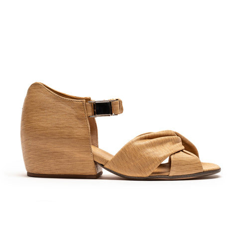 women's beige leather sandal with metal buckle by designer tracey neuls