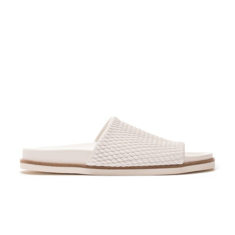 White vegan leather slide sandal
